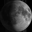 Zunehmende Dreiviertel-Mondin